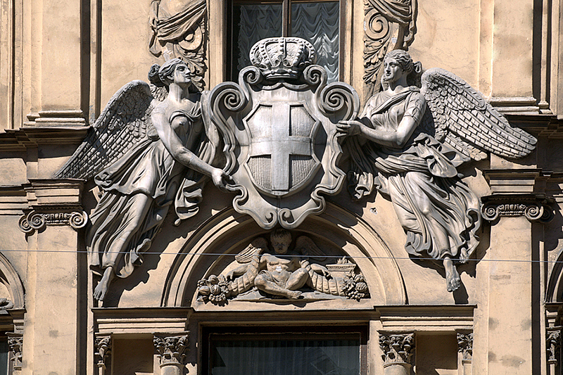 Demidov coat of arms on the facade of their mansion in St Petersburg, Russia