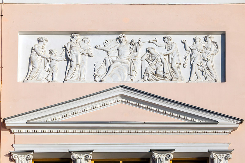 Bas-relief on the facade of the Laval House in St Petersburg, Russia