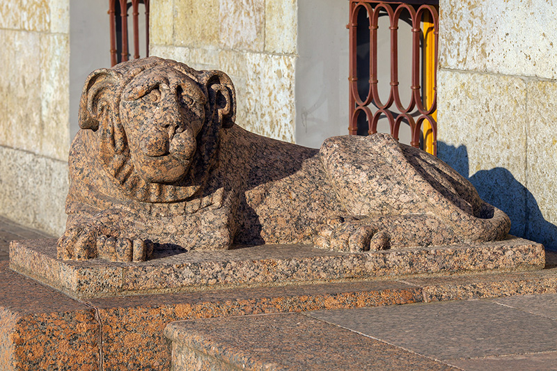 Stone lion at the entrance to the Laval House in Saint-Petersburg, Russia