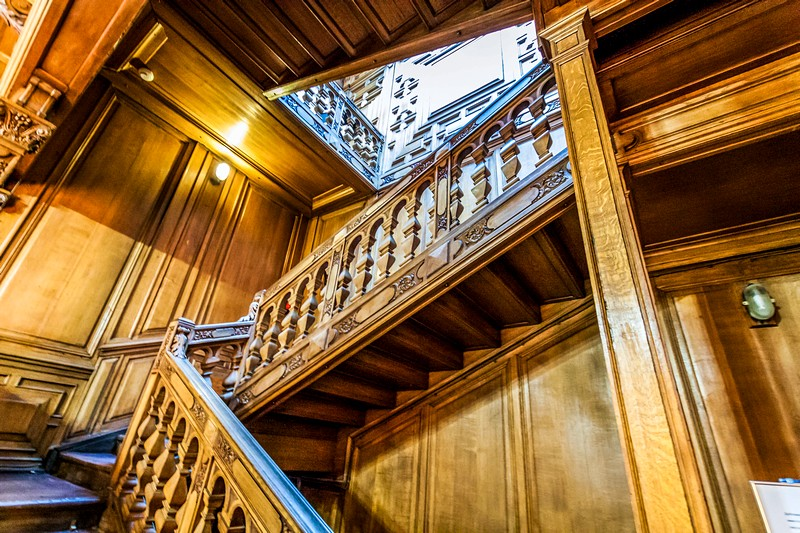 Unique mahogany staircase at the Rumyantsev Mansion in Saint-Petersburg, Russia