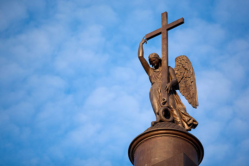 Angel with a cross on top of the Alexander Column in St Petersburg, Russia