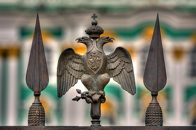 Two-headed eagles on the Alexander Column in Saint-Petersburg, Russia