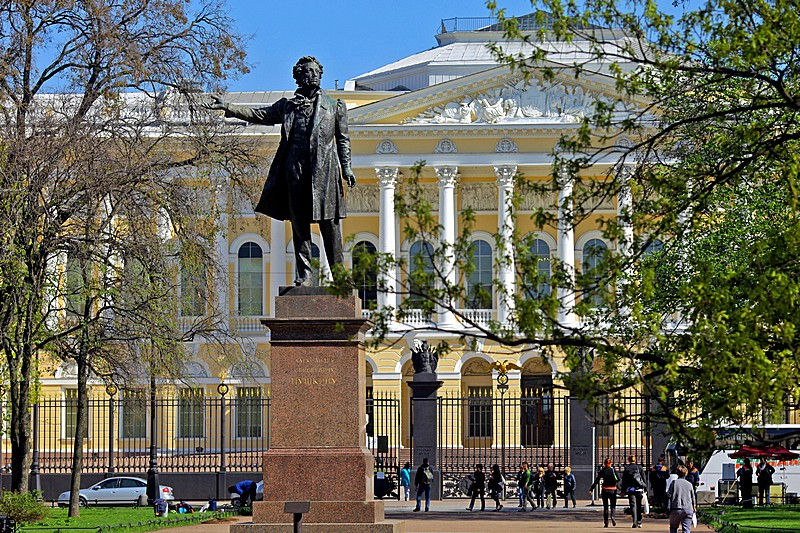 Monument to Alexander Pushkin in front of the Russian Museum in St Petersburg, Russia