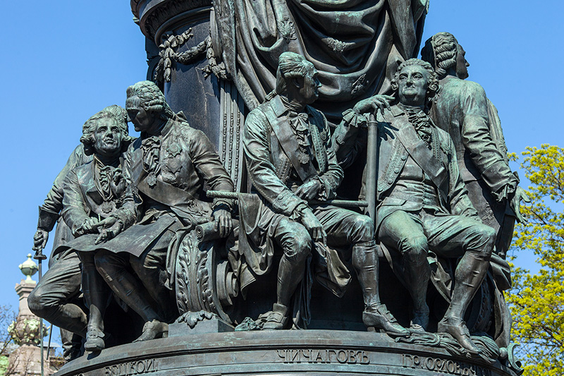 Decorated pedestal of the Monument to Catherine the Great in St Petersburg, Russia