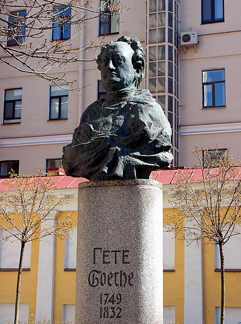 Statue of Goethe next to St Peter's Church in St Petersburg, Russia
