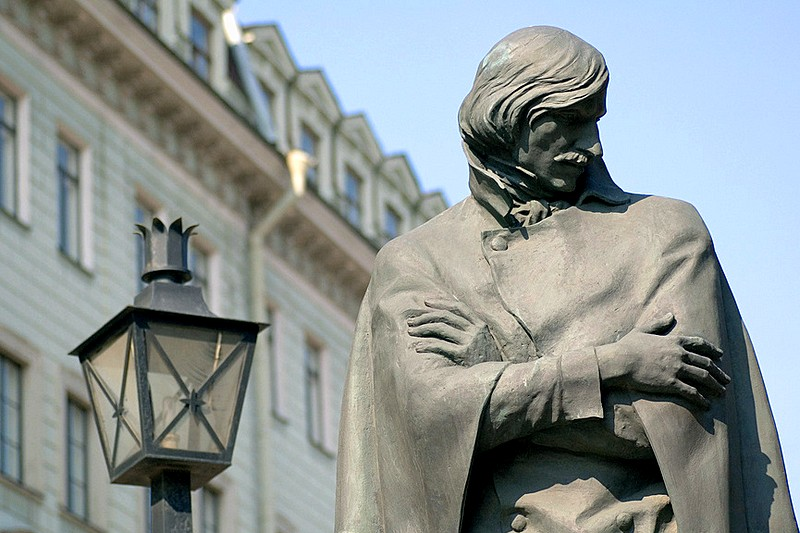 Detail of the Monument to Nikolay Gogol in Saint-Petersburg, Russia