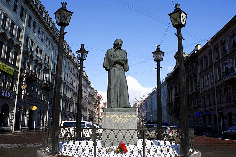 Statue of writer Nikolay Gogol on Malaya Konyushennaya Ulitsa in St Petersburg, Russia