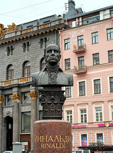 Monument to Antonio Rinaldi (architect) on Manezhnaya Ploshchad in Saint-Petersburg, Russia