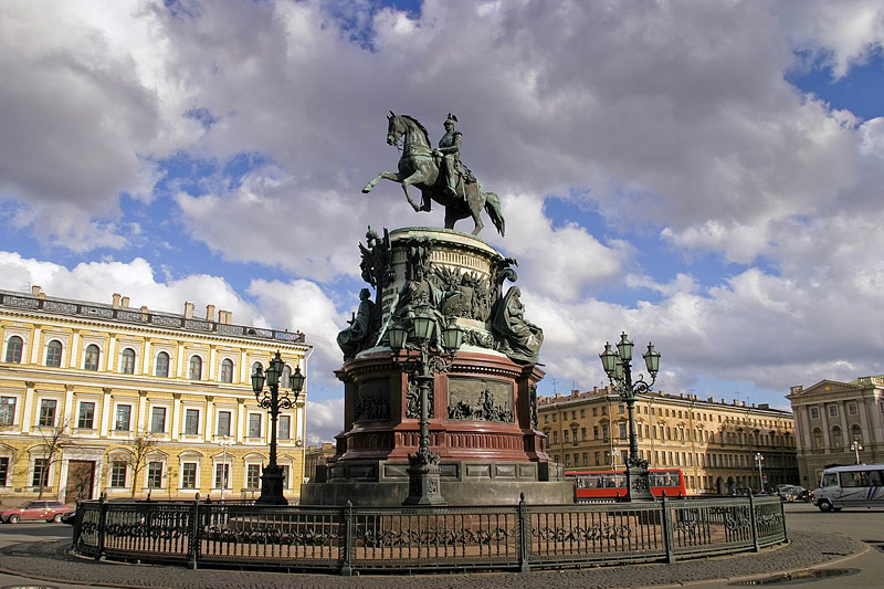 Equestrian monument to Nicholas I on Isaakievskaya Ploshchad (St. Isaac's Square) in St Petersburg, Russia