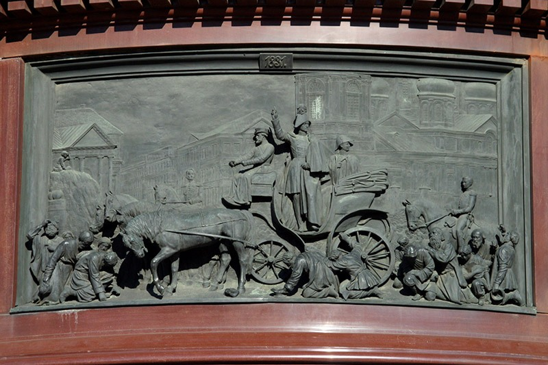 One of the bas-reliefs on the pedestal of the Monument to Nicholas I in St Petersburg, Russia