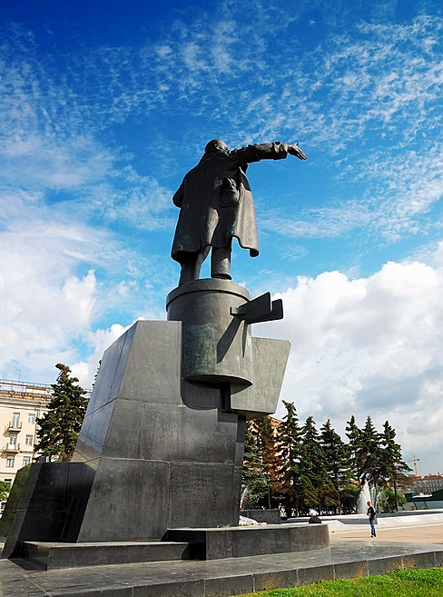 Monument to Bolshevik leader Vladimir Lenin giving a speech from an armored car in St Petersburg, Russia