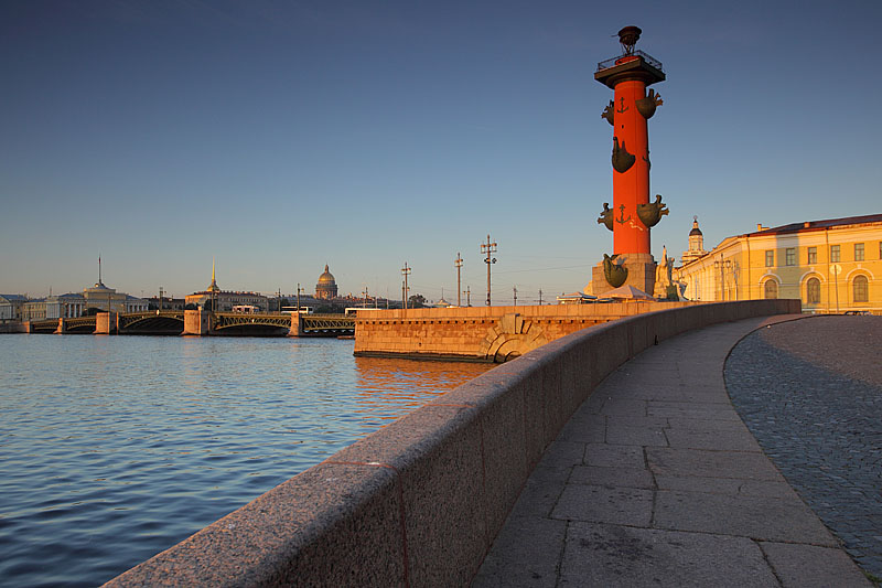 Early morning view of the Rostral Columns in Saint-Petersburg, Russia