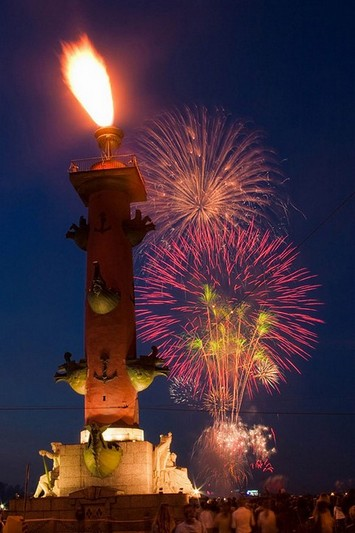 Rostral Column with gas beacon during a public holiday in St Petersburg, Russia