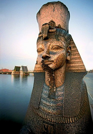 Ancient sphinx by the Neva River in Saint-Petersburg, Russia