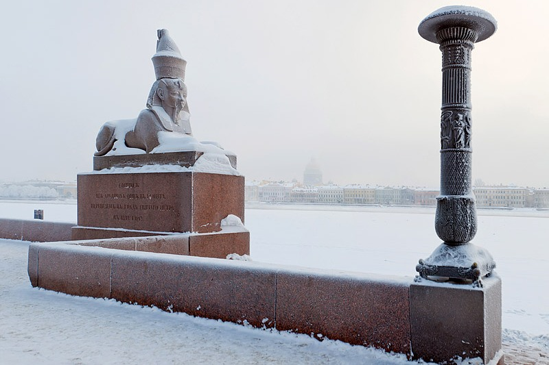 Ancient Egyptian sphinx covered with snow in St Petersburg, Russia