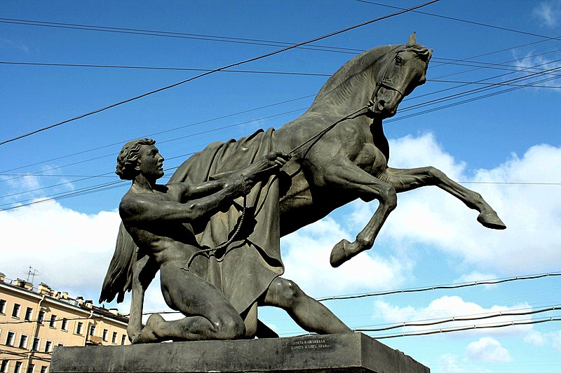 One of four famous statues on Anichkov Bridge in St Petersburg, Russia