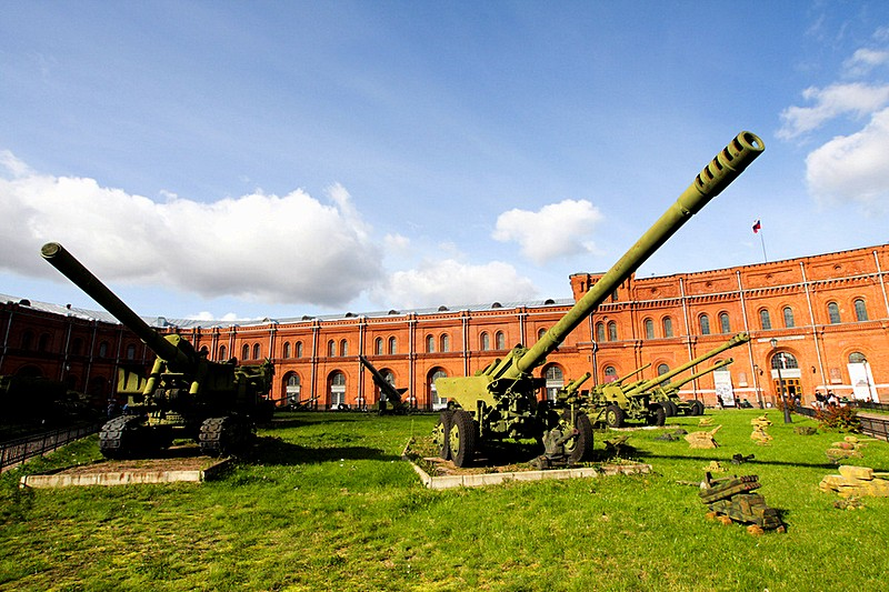 Anti-aircraft cannons at the Museum of the Artillery, Engineers and Signal Corps in St Petersburg, Russia