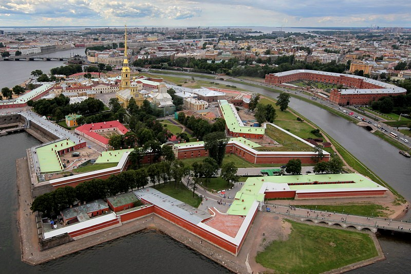 Aerial view of the Peter and Paul Fortress and the Museum of Artillery, Engineers and Signal Corps in Saint-Petersburg, Russia