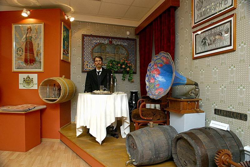 Exhibits in the Beer Museum at Stepan Razin Brewery in St Petersburg, Russia