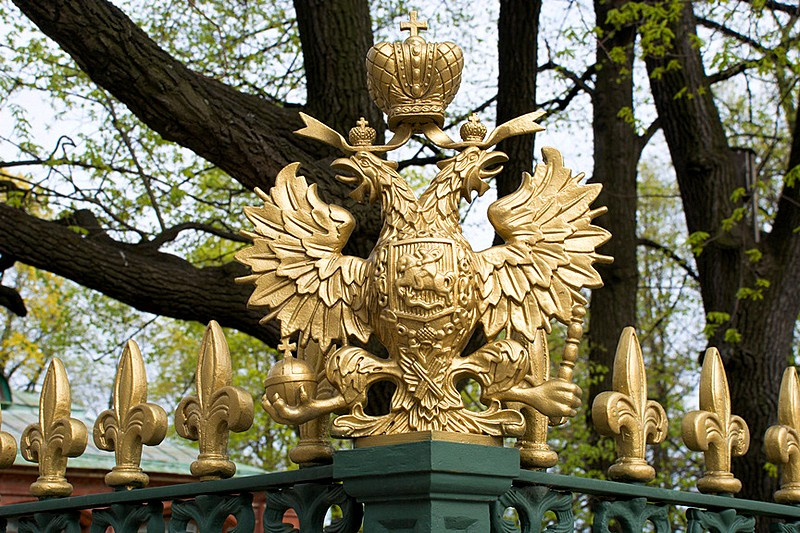 Two-headed eagles at the Cabin of Peter the Great in St Petersburg, Russia