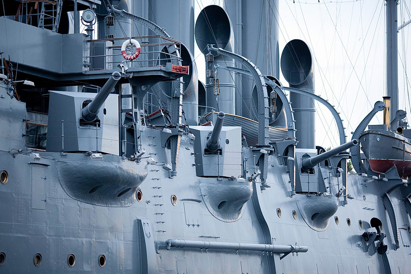 Cannons of the Cruiser Aurora in St Petersburg, Russia