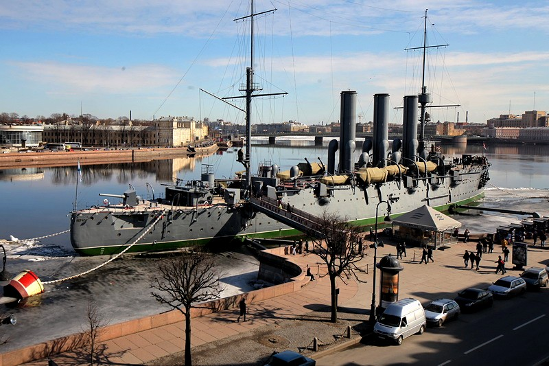Cruiser Aurora on Petrogradskaya Embankment in St Petersburg, Russia