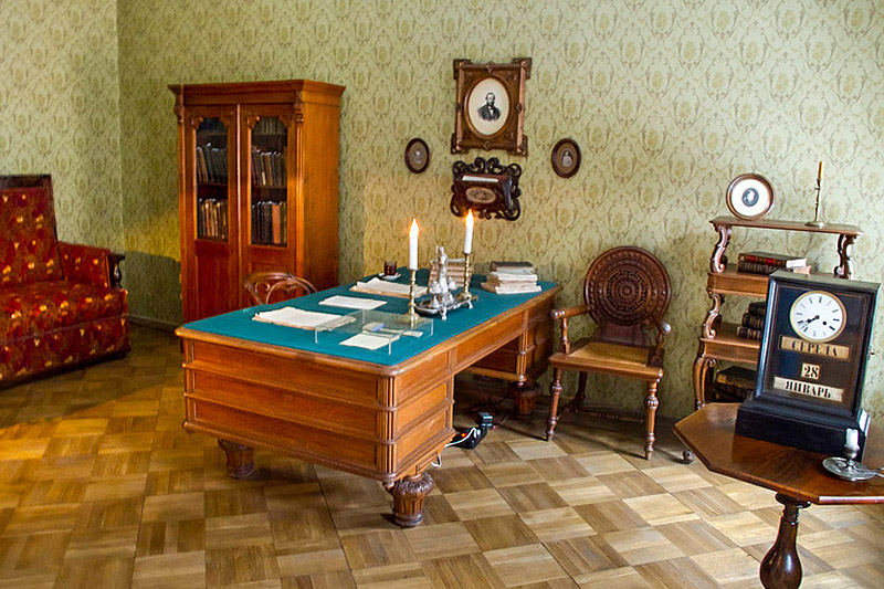 Dostoevsky's study with the clock reflecting the time of the famous novelist's death in St Petersburg, Russia