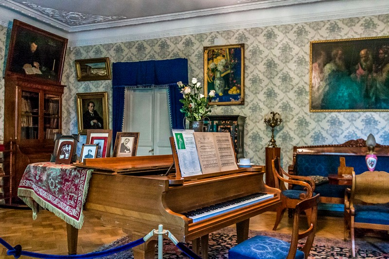 Chaliapin's grand piano in the sitting room in St Petersburg, Russia
