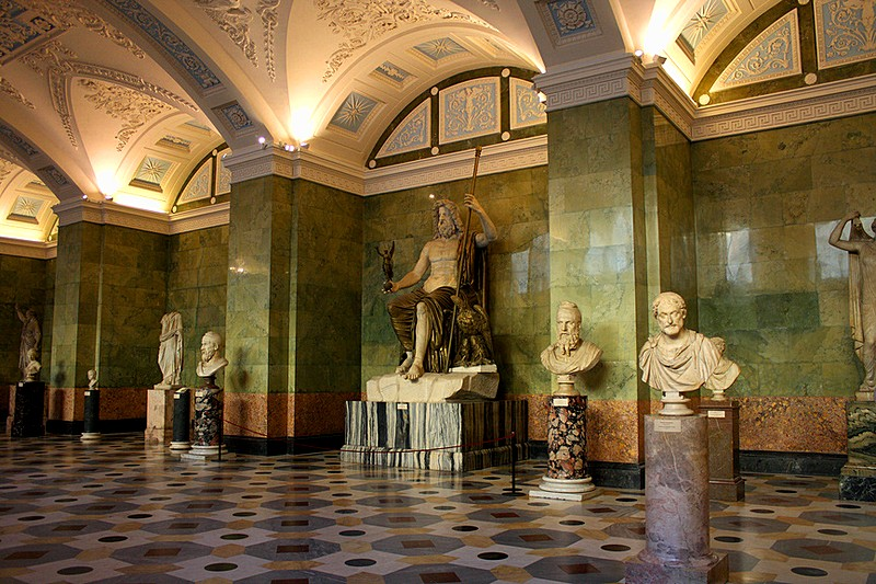 Jupiter Hall adorned with marble statues at the Hermitage Museum in St Petersburg, Russia
