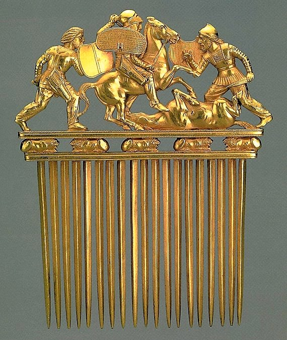 Scythian golden comb, probably made by Greeks, from Solokha, early 4th century, Hermitage Museum in St Petersburg, Russia