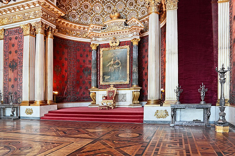 Peter the Great's memorial throne room at the Winter Palace / Hermitage Museum in St Petersburg, Russia