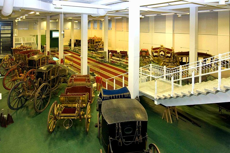 Hall of Carriages in the Hermitage Storage Facility in St Petersburg, Russia