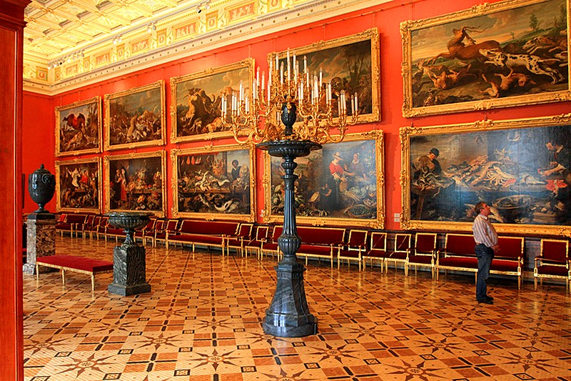 One of the galleries devoted to West European art at the Hermitage Museum in St Petersburg, Russia