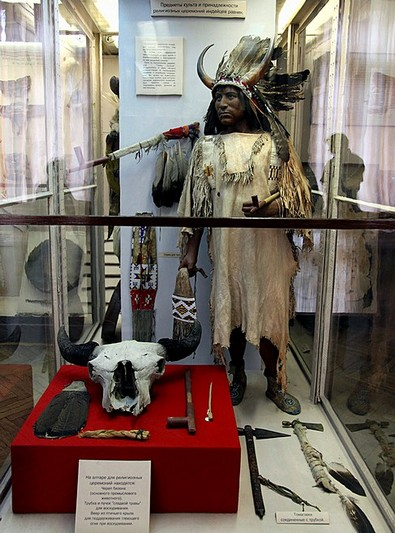 Worship items of American Indians at the Kunstkammer (Museum of Anthropology and Ethnography of Peoples of the World) in St Petersburg, Russia