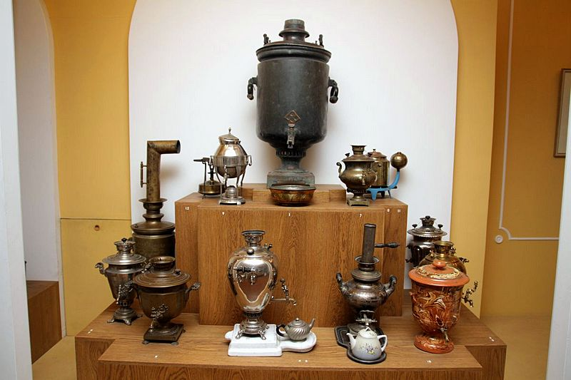 Samovars at the Museum of Bread in St Petersburg, Russia