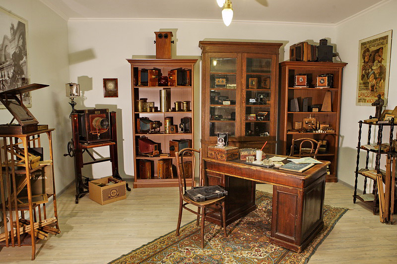 Early 20th century photograph equipment store at the Museum of the History of Photography in St Petersburg, Russia