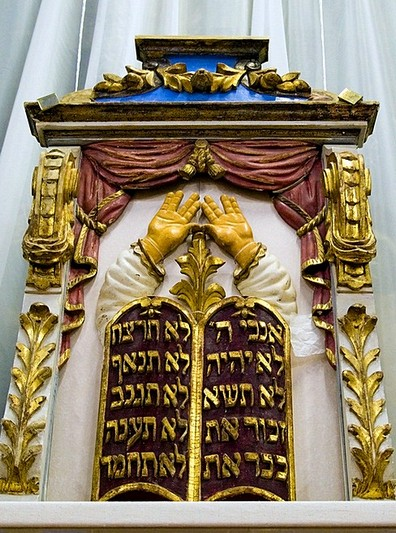 Aron-Kodesh (detail) in the Judaism section of the History of Religion Museum in St Petersburg, Russia