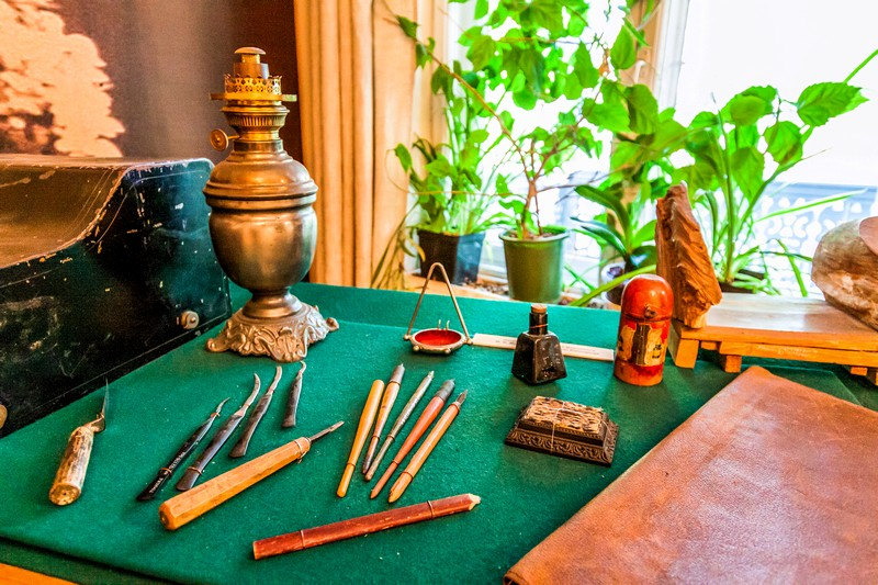 Tools of Matyushin - a painter, carver and engraver in Saint-Petersburg, Russia