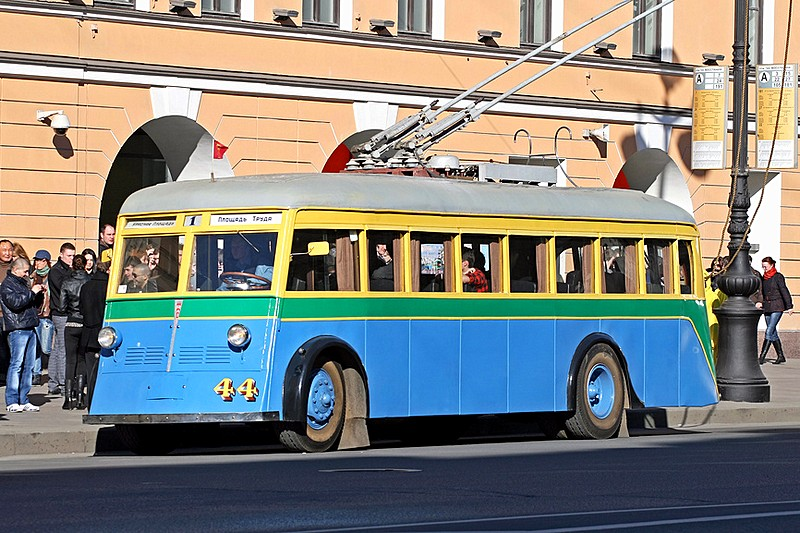 Historic YaTB-1 Trolleybus from the Museum of Electrical Transport on the streets of St Petersburg, Russia