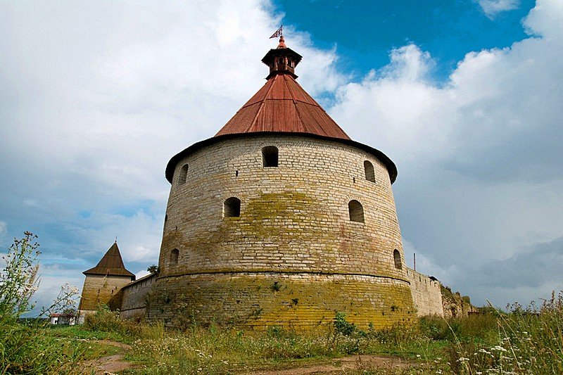 One of the medieval towers at Oreshek Fortress on the Neva River, east of St Petersburg, Russia
