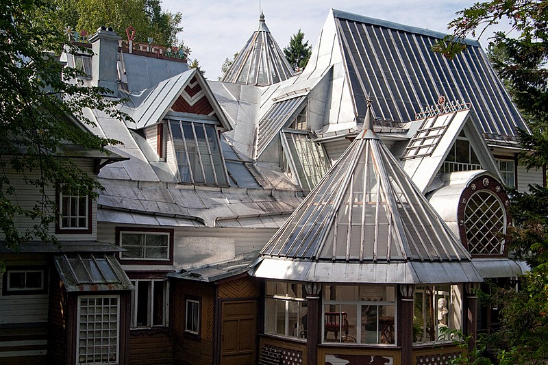 Picturesque roof of Penaty, residence of artist Ilya Repin in Repino, outside St Petersburg, Russia