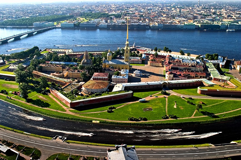 Aerial view of Zayachy (Hare) Island and the Peter and Paul Fortress in St Petersburg, Russia