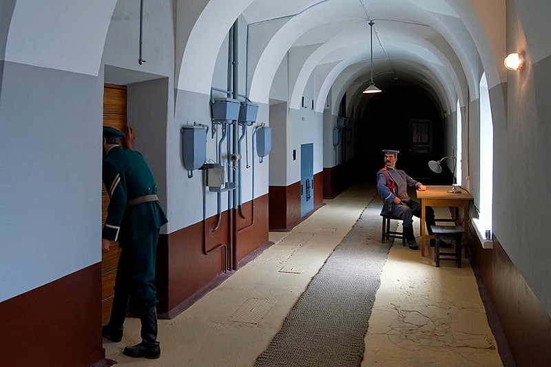 Corridors of the jail in the Trubetskoy Bastion at the Peter and Paul Fortress in St Petersburg, Russia