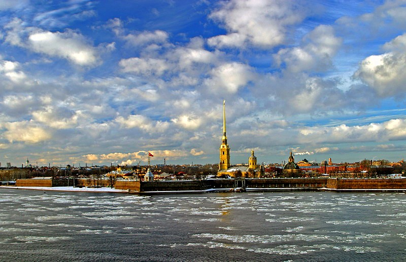Spring scene on the Neva River opposite the Peter and Paul Fortress in St Petersburg, Russia