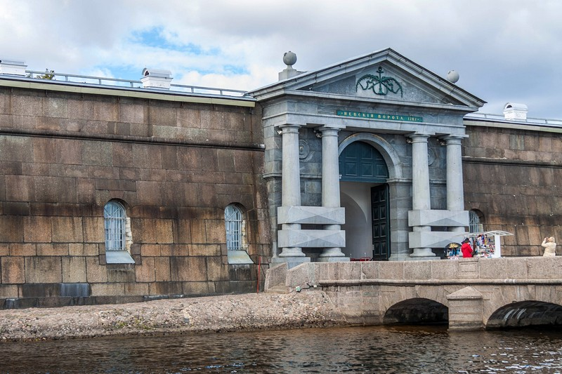 Nevskiye (Neva) Gates of the fortress seen from the Neva River in St Petersburg, Russia