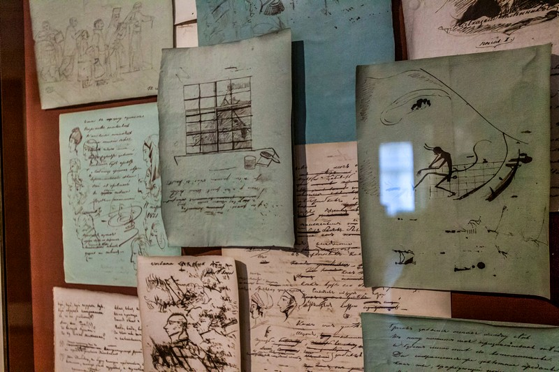 Manuscripts and sketches by the great poet in St Petersburg, Russia