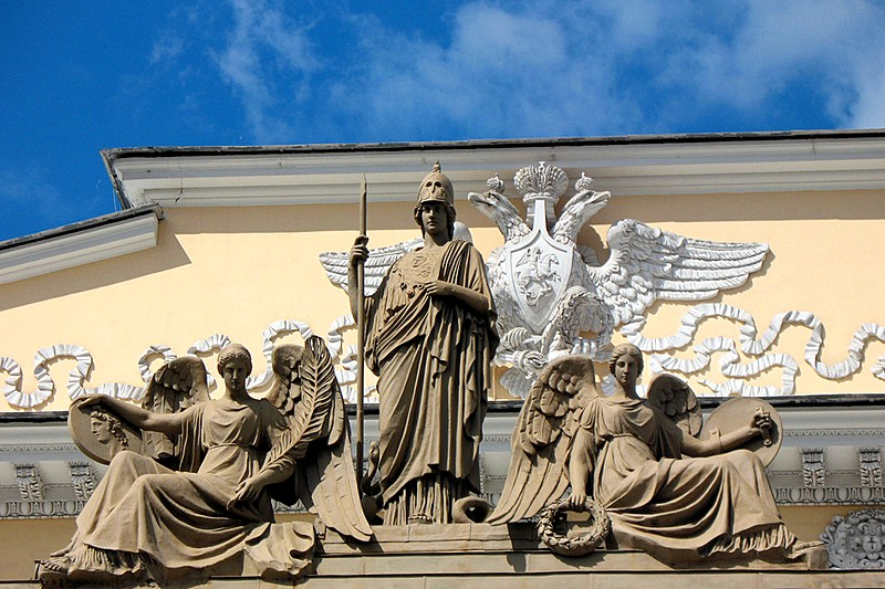 Facade decorations of the Russian Ethnography Museum in St Petersburg, Russia