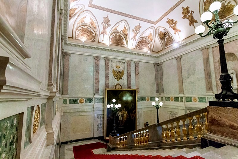 The Grand Staircase of Mikhailovsky Castle in St Petersburg, Russia
