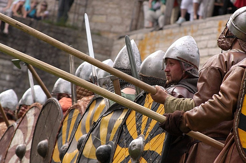 Festival of medieval knights at the Staraya Ladoga Historical, Architectural and Archeological Museum-Reserve in St Petersburg, Russia