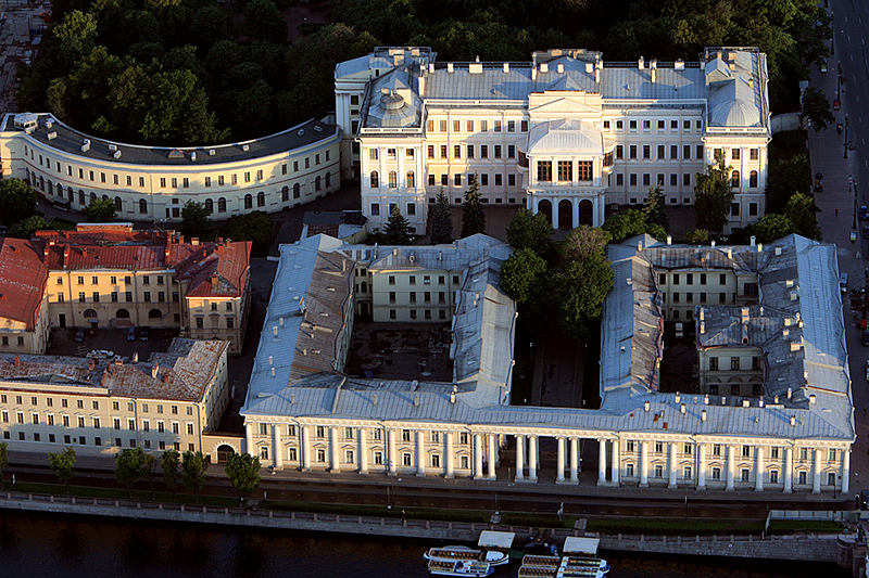 Aerial view of Anichkov Palace in St Petersburg, Russia